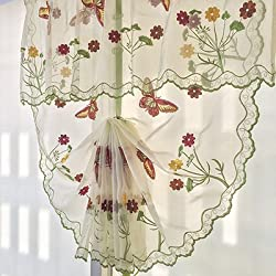New Tulle Balloon Window Curtains for Kitchen Bedroom Living Room Decorative Terri Wong Fire red butterfly Embroidered Pattern Butterfly tulle Rod Pocket 80x110