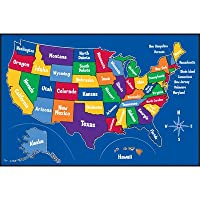 Play Carpet US Map Multi Kids Rug from Learning Carpets