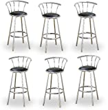 "6 24"" Chrome Counter Height Bar Stools with Back Rests and a Black Vinyl Seat"