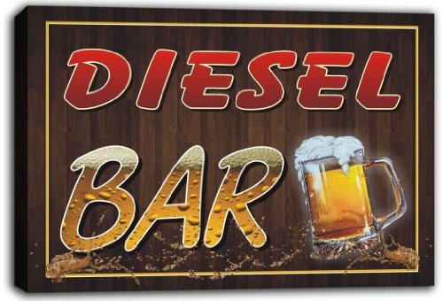 Scw3-043309 Diesel Name Home Bar Pub Beer Mugs Stretched Canvas Print Sign