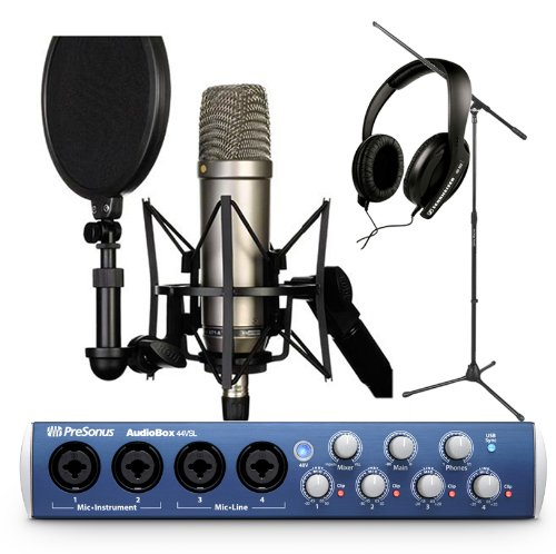 Rode NT1-A Cardioid Condenser Microphone Recording Package with Presonus Audiobox 44VSL, Studio One Artist Recording Software, Sennheiser HD 202-II Closed-Back Around-the-ear Studio Headphones and a Tripod Base Microphone Floor Stand – Black