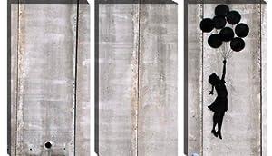 "Flying Balloons Girl by Banksy (Reproduction) Graffiti Canvas Art Print 61""x41"" 3 Piece (1.5"" Deep)"