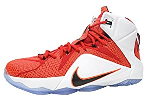 nike lebron XII 12 mens hi top basketball trainers 684593 sneakers shoes james (uk 9 us 10 eu 44, university red black white hyper crimson 601)
