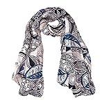 Ecowonder Women's Functional Medium 100% Premium Silk Scarf Black Blue Ribbon