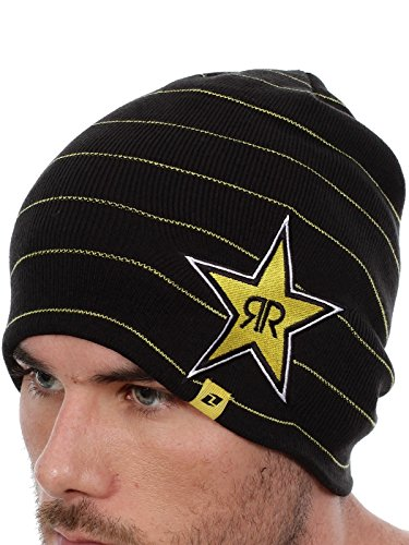 Rockstar Energy Drink Men's One Industries Stripes Beanie Hat Cap - Black (Rockstar Energy Drink Motocross compare prices)