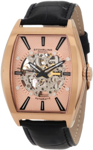 Stuhrling Original Men's 182C3.334514 Classic Millenia Master Automatic Skeleton Rosetone Watch Set