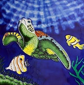 "12"" X 12"" Hand Painted Decorative Ceramic Tile Art - Sea Turtle"