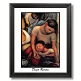 Diego Rivera Mother And Child Tuscan Home Decor Wall Picture Black Framed Art Print