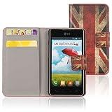 tinxi Custodia case in PU per LG Optimus L5 II E460 con supporto di stand e fessure per carte di credito caso...