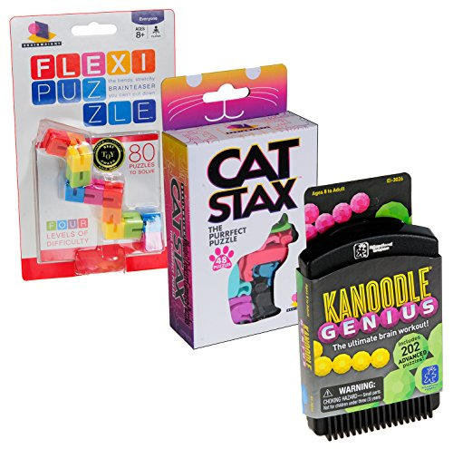 IQ Brain Teaser Puzzle Bundle No 63 _ Cat Stax; Kanoodle Genius, Flexi Bendi _ 3 Unique Puzzles _ Bundle