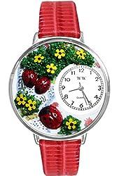 Ladybugs Red Leather And Silvertone Watch #WG-U1210004