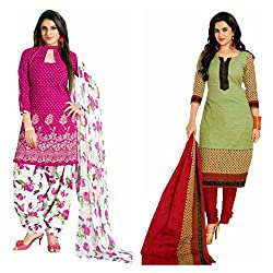 Sky Global Women's Printed Unstitched Regular Wear Salwar Suit Dress Material (Combo pack of 2)(SKY_Combo_361)(SKY_532_Pink)(SKY_513_MultiColour)