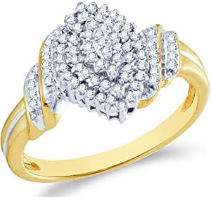 Size - 9.5 - 10k Yellow and White Two 2 Tone Gold Marquise Shape Center Cluster Setting Round Cut Ladies Diamond Engagement Cocktail Ring Band (1/4 cttw)
