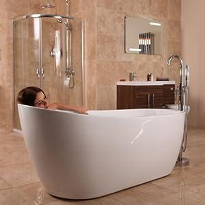 Freestanding bath tub slipper acrylic white 1700 amazon for Slipper tub bathroom design