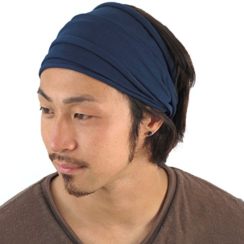 Casualbox Mens Japanese Elastic Cotton Headband Wrap Bandana Navy