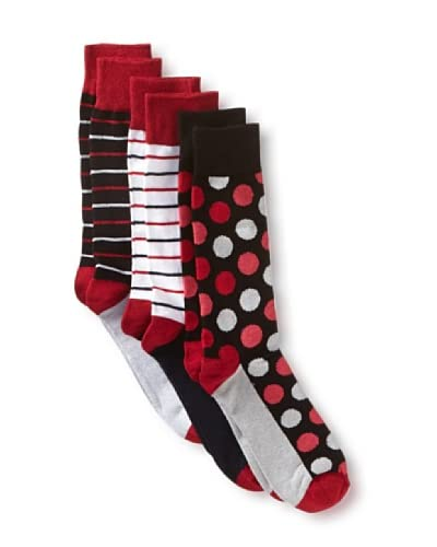 English Laundry Men's Colorful Dots and Stripes - 3 Pack Socks