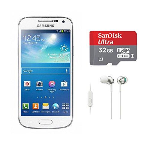 Samsung Galaxy S4 Mini GT-I9192 GSM Unlocked Dual Sim (White) with 32 GB microSDHC Card and In-Ear Headphones