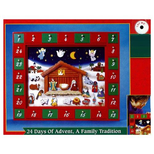 Kurt Adler Talking Light-Activated Wooden Nativity Advent Calendar
