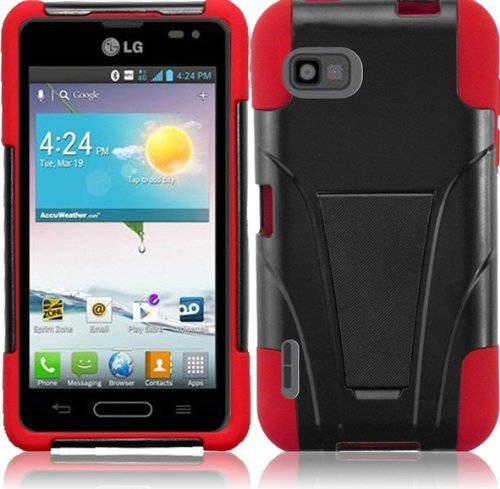 For Lg Optimus F3 Ms659 Black/Red T-Stand Impact Hybrid Fusion Tuff Kickstand Double Layer With Holster Cover Case front-417724