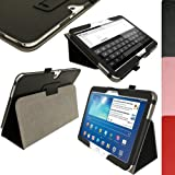 igadgitz Schwarz PU Ledertasche Hülle Folie Cover für Samsung Galaxy Tab 3 10.1