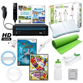 Nintendo Wii Black Mega Holiday Bundle with Wii Fit Plus and Much More