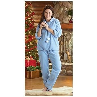 Women's Guide Gear Pom Pom Hooded Pajama Set with Sleep Mask, LT BLUE, SM