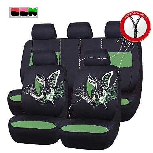 NEW ARRIVAL- CAR PASS 11PCS Insparation Universal Seat Covers Set Package-Universal fit for Vehicles,Cars With Opening Holes for headrest and selt belts ,Airbag Compatiable (Black With Green) (Ford Escape Seat Covers For Girls compare prices)