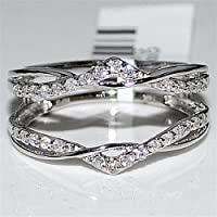 Real Diamond Jacket Enhancer Ring Guard .27ct 14K White Gold new