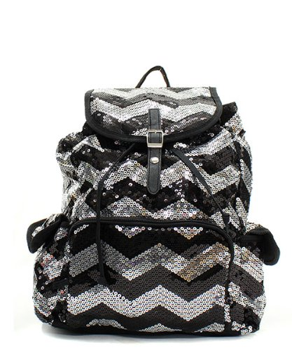 Chevron Sequin Backpack Blk