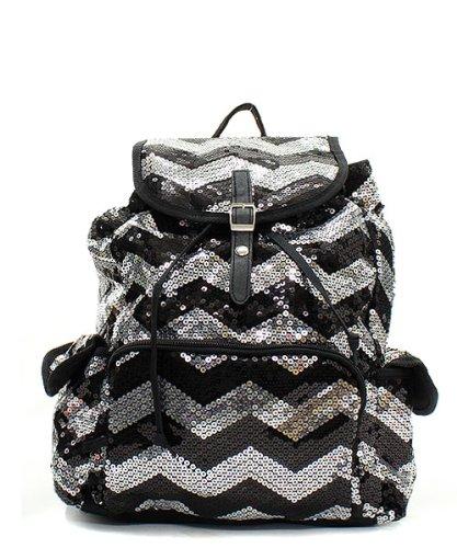Chevron Sequin Backpack Blk