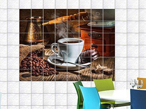 fliesenaufkleber fliesenbild tasse mit kaffee und kuchen f r ihre k che fliesenma 15x20cm bxh. Black Bedroom Furniture Sets. Home Design Ideas