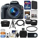 Canon EOS Rebel SL1 Digital SLR Camera & EF-S 18-55mm IS STM Lens with 32GB Card + Case + Battery + Tripod + Tele/Wide Lens Kit