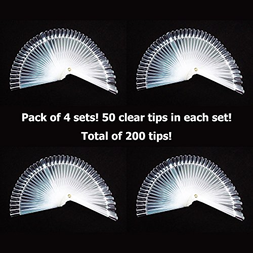 Pack of 4 - GOGOONLY 50 Clear Tips Fan-shaped Nail Art Display Chart Acrylic False Tips Practice Tool - 200 Tips in Total-BH000472 (Nail Display Chart compare prices)
