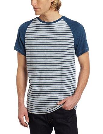 (4.3折)卡尔文Calvin Klein Jeans Men's Baseball Strip男士纯棉条纹T恤,灰,$16.97
