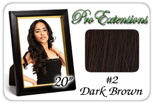 "Pro Extensions Body Wave 20"" x 39"" #2 Dark Brown 100% Clip on in Human Hair Extensions"