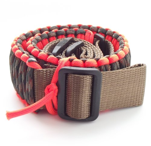 """550 Lb Paracord Survival Gun/Rifle Sling-(Over 25 Ft Cord)-Adjustable Up To 44""""In Length-8 Plus Colors (Neon Orange & Woodland Camo Paracord Over Coyote Brown Nylon Webbing, 1.25"""" Webbing)"""