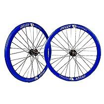 Origin8 Track Attak Wheel Set - 700c, 32H, Fixie, NMSW, Blue/Black/Black