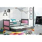 Schubladenbett Funktionsbett Kinderbett RICO 2 ausziehbar 200/90cm Farbe: Graphite Massivholz, Kiefernholz + Lattenrost...