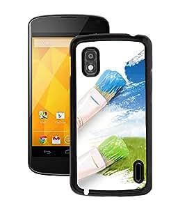 Fuson 2D Printed Paint Brush Designer Back Case Cover for LG Google Nexus 4 - D1062