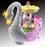 WolVol Beautiful Musical Rotating Horses Carousel Music Box on Self Riding Swan Animal