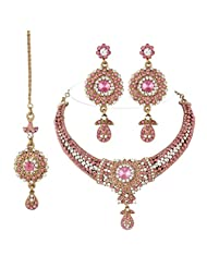 I Jewels Ethnic Collection Gold Plated Bridal Jewellery Set With Maang Tikka For Women