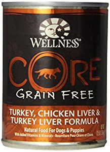 Wellness Grain-Free Canned Dog Food for Adult Dogs, CORE Turkey/Chicken Liver/Turkey Liver Recipe, 12-Pack of 12-1/2-Ounce Cans