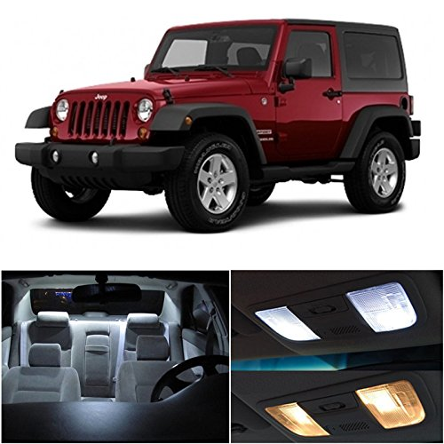 LEDpartsNow Jeep Wrangler JK 2007-2015 Xenon White Premium LED Interior Lights Package Kit (5 Pieces)