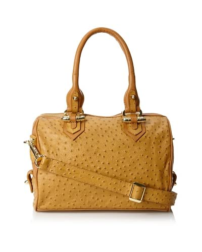 CC Skye Women's Luxe Madison Convertible Satchel, Tan Ostrich, One Size As You See