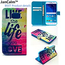 buy Galaxy S6 Case,Jancalm [Perfect Fit] [Kickstand] New Pattern Premium Pu Leather Wallet [Card/Cash Slots] Flip Case Cover For Samsung Galaxy S 6 *Including -One Crystal Pen (Live The Life You Love)