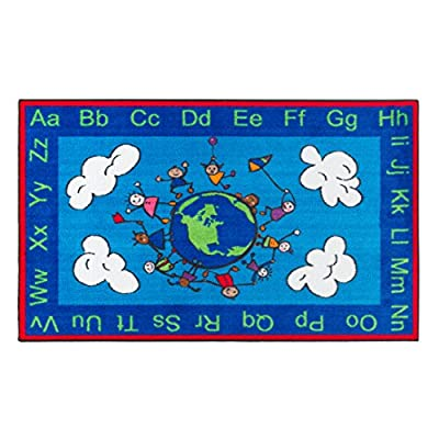 """Flagship Carpets CE189-28W Happy World Rug, Promotes Acceptance with Cheerful Friends of Diverse Backgrounds, 5' x 8', 60"""" Length, 96"""" Width, Blue/Multi-Color"""