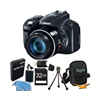Canon PowerShot SX50 HS 12.1 MP Digital Camera with 50x Wide-Angle Optical Image Stabilized Zoom Super Bundle W/ 32 GB Secure Digital (SDHC) Mem. Card, Dig Pro Case SD USB 2.0 Card Reader, BP 1150 by Canon