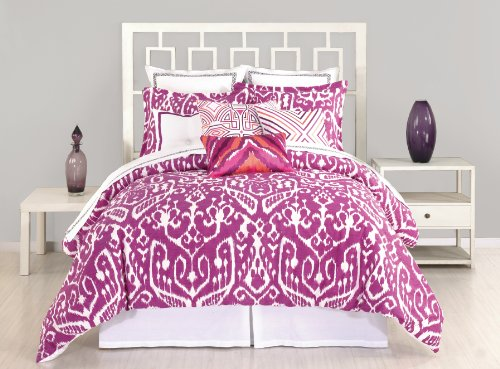Trina Turk 3-Piece Ikat Comforter Set, Queen, Purple front-1066465