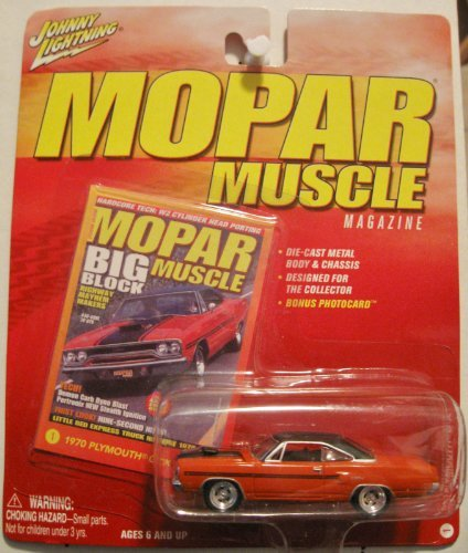 Johnny Lightning Mopar Muscle Magazine 1970 Plymouth GTX Orange Red/Black Roof #1 by Playing Mantis