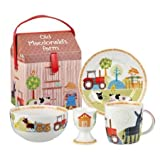 Little Rhymes 1-Piece Fine China Old MacDonald's Farm 4-Piece Breakfast Set Multi-Color